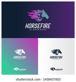 Fast Speed Horse Logo Design Vector. Horse with Fire logo concept vector template