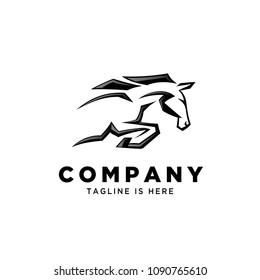 Fast speed jump horse logo