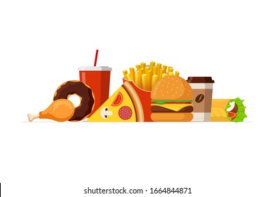 Fast sreet food lunch meal set. Classic cheeseburger, french fries pack, fried crispy chicken leg, glazed donut, soft drink, coffee cup, pizza and shawarma. Flat eps vector illustration