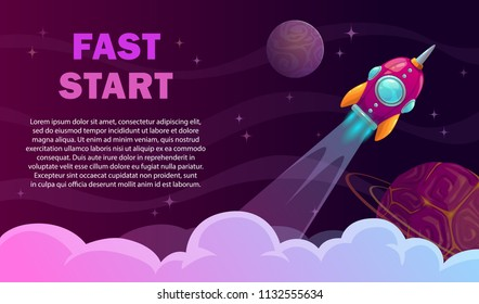 Fast start poster. Rocket launch concept. Vector space illustration.
