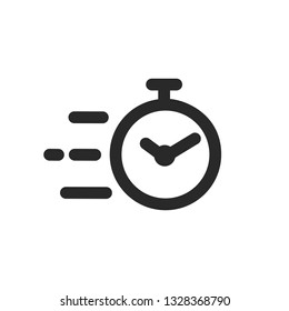 Fast stopwatch line icon. Fast time sign. Speed clock symbol urgency, deadline, time management, competition – vector for stock