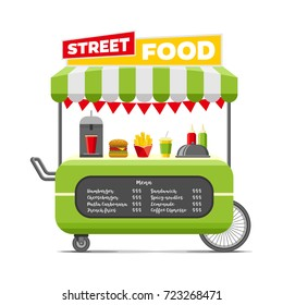 Fast street food cart. Colorful vector illustration, cute style, isolated on white background