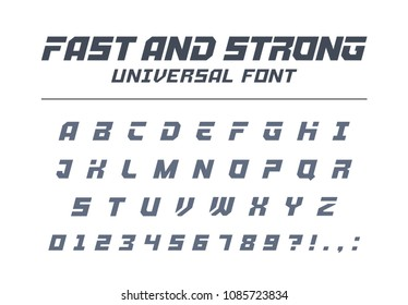 Fast, strong, high speed universal font. Sport, futuristic, technology, future alphabet. Letters, numbers for military industry, electric car racing logo design. Modern minimalistic vector typeface