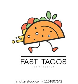 Fast tacos logo design, food service delivery, creative template for corporate identity, restaurant or cafe of Mexican food vector Illustration on a white background