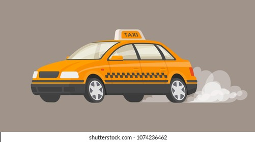 Fast taxi. The car rides to order, leaving a puff of smoke behind. The concept of quick delivery. Vector illustration in a flat style