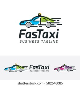 Fast Taxi, transportation, taxi, fast, speed, travel, booking, sport, app, mobile. Vector logo template