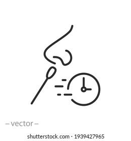 fast test coronavirus icon, quickly medical control, diagnosis virus covid19, laboratory analysis, thin line symbol on white background - editable stroke vector