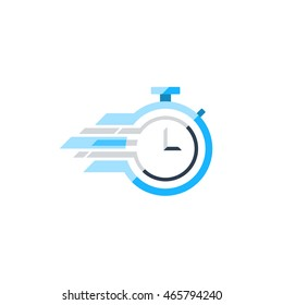 Fast time concept, rush hour logo, training session icon. Flat design illustration