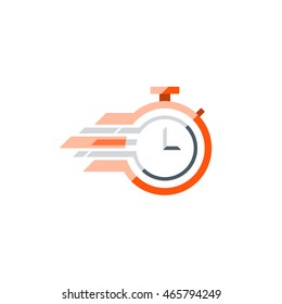 Fast time concept, rush hour logo, training session icon. Flat design illustration