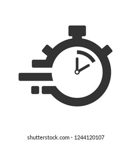 Fast time delivery icon, stopwatch in motion, deadline concept, clock speed. The 10 seconds, minutes stopwatch icon on white background. Clock and watch, timer, countdown symbol. EPS 10 vector.