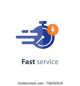 Fast time delivery icon, timely service, stopwatch in motion, deadline concept, clock speed, flat icon, vector  illustration