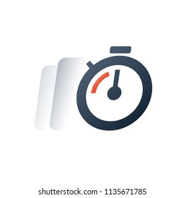 Fast time motion, quick delivery period, deadline clock timer, stopwatch timeout, limited offer last chance concept, training session, business and finance service, urgent order, vector flat icon