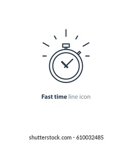 Fast time stop watch, limited offer, happy hour and deadline concept, vector line icon