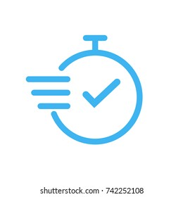 Fast time vector icon on white background. Thinline clock icon