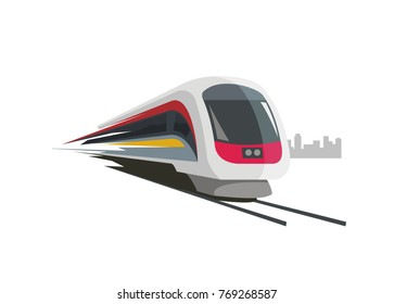 fast train with city building silhouette background