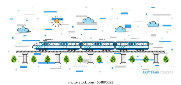 Fast train vector illustration with colorful elements. Train line art concept. The locomotive on the rails graphic design.