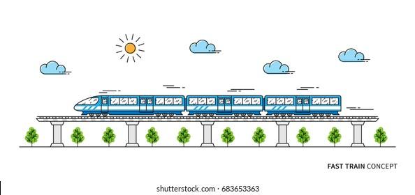 Schnelle Vektorgrafik des Zuges. Konzept der Zugverbindung Die Lokomotive auf den Schienen Grafikdesign.