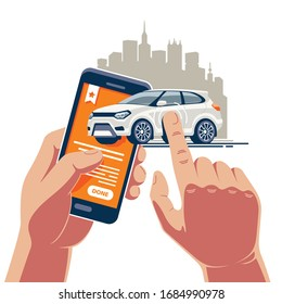 Schnelle Fahrzeugoperationen mit einer mobilen Anwendung im Internet. Ein weißes Auto wird auf einem Smartphone gekauft und verkauft.
