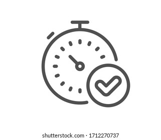 Fast verification line icon. Approved timer sign. Confirmed time symbol. Quality design element. Editable stroke. Linear style fast verification icon. Vector