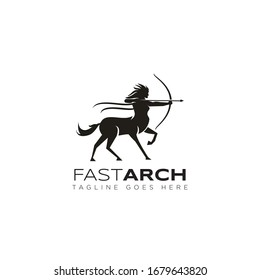 fastarch logo, from fast and archer woman centaur vector