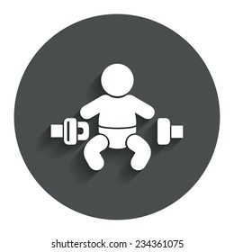 Fasten seat belt sign icon. Child safety in accident. Gray flat button with shadow. Modern UI website navigation. Vector
