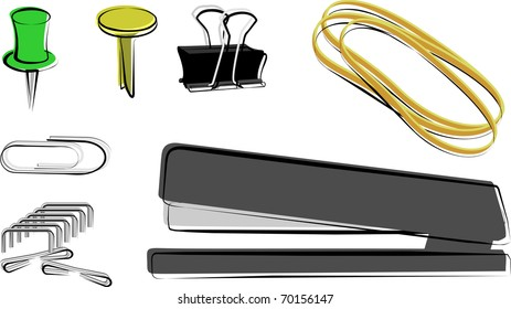 Fasteners: Paper clip, push pin, brad, binder clip, rubber band, stapler and staples
