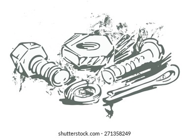 Fasteners. Vector Image in sketchy manner nuts, bolts, washers, dowels and screws