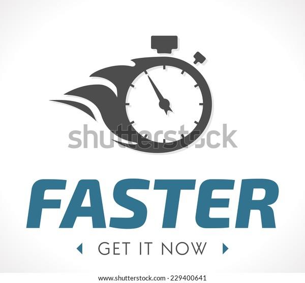 Vector de stock (libre de regalías) sobre Faster Logo229400641