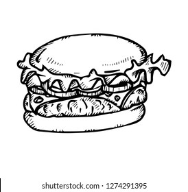 fastfood concept. classic hamburger with meat chop tomato onion and cheese in a bun stock vector illustration isolated on white background