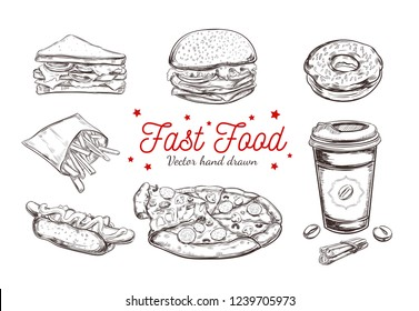 Fastfood dishes with drinks . Vector Hand drawn  Isolated vector objects. Hamburger, pizza, hot dog,  cheeseburger, coffee cup,  french fries, donut, sandwich