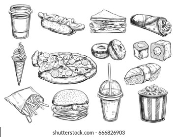 Fastfood dishes with drinks . Vector Hand drawn  Isolated vector objects. Hamburger, pizza, hot dog,  cheeseburger, coffee and soda cups, ice cream ,  french fries, popcorn , donuts, rolls, sandwich
