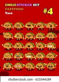 Fastfood emoji-sticker set