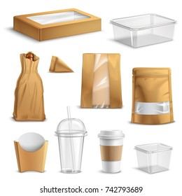 Fastfood empty packages realistic set with clear plastic coke cup paper bags and containers isolated vector illustration