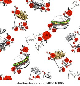 Fastfood fashion seamless pattern with rose flowers. Beautiful vector pattern with fast food dishes: fried potato, hamburger, cold drinks. Modern tracery on white background in vintage style.