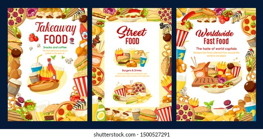 Fastfood, frames of takeaway street food. Vector burger and pizza, cheeseburger or hamburger and hot dog, sandwiches and nuggets, fries and chicken wings, ice cream, coffee or soda drinks