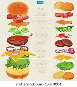 Fastfood. Hamburger ingredients with text. Vector illustration