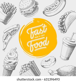 Fastfood hand drawn background. Cool food illustrations composition. Eps10 format.
