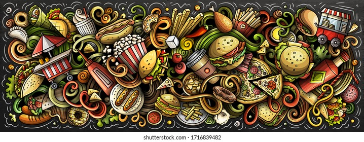 Fastfood hand drawn cartoon doodles illustration. Fast food funny objects and elements poster design. Creative art background. Colorful vector banner