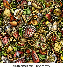 Fastfood hand drawn doodles seamless pattern. Fast food background. Cartoon fabric print design. Colorful vector illustration. All objects are separate.