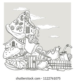 Fastfood House, Lovely Cartoon Castle, Made From burger, pizza and french fry, Page For Your Coloring Book