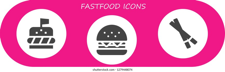 fastfood icon set. 3 filled fastfood icons. Simple modern icons about  - Burger, Chopsticks