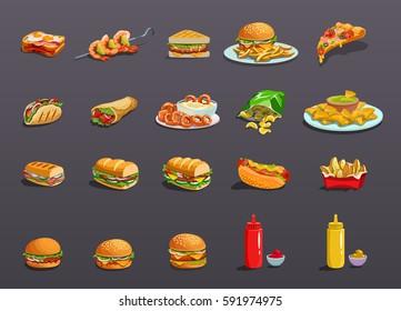 Fastfood Icons set. Art, Icon Image, logo, food Icon Sign, food Icon design, food icon app