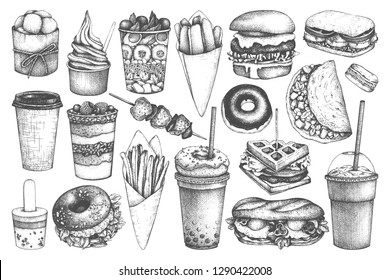 Fastfood illustrations collection. Street  festival menu design elements. Vector snacks, drinks and desserts drawings for logo, icon, label, packaging, poster. Junk food set in sketched style.