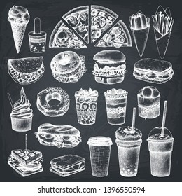 Fastfood illustrations collection. Street  festival menu design elements. Vector snacks, drinks and desserts drawings for logo, icon, label, packaging, poster. Junk food set on chalkboard.