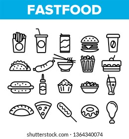 Fastfood Linear Vector Icons Set. Fastfood Thin Line Contour Symbols Pack. Junk Food Pictograms Collection. Unhealthy Snacks, Quick Meal, Street Food. Hamburger, French fries Outline Illustrations