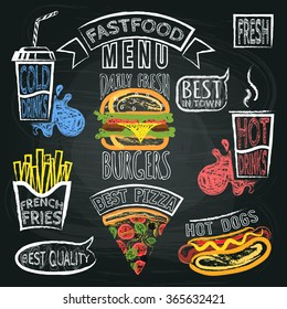Fastfood Menu and speech bubble set with phrases Poster on Chalkboard. Vector illustration.