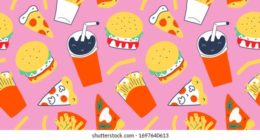 Fastfood pattern with modern doodle food illustrations. Seamless vector background, cola drink with straw, french fries and burgers with cheese, slices of pepperoni pizza and margherita