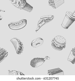 Fastfood seamless pattern. Hand-drawn vector food illustration. Eps10 format.