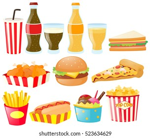 Fastfood set with different types of food and drink illustration
