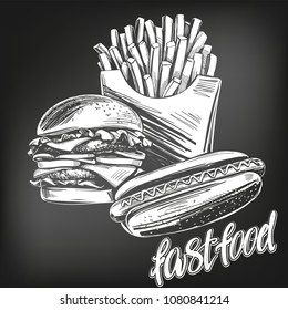 fastfood set, French fries , hot dog, hamburger logo hand drawn vector illustration realistic sketch, drawn in chalk on a black board